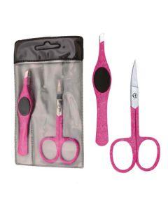 2-teiliges Set mit Nagelschere und Pinzette (pink)
