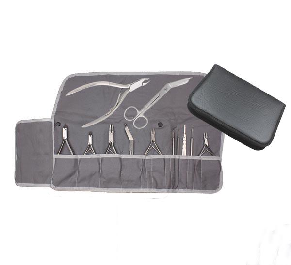 Instrumentenmappe (Etui) für die Fußpflege mit Baumwolleinlage (grau)